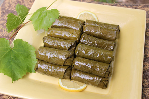 stuffed-grape-leaves-recipe-plated